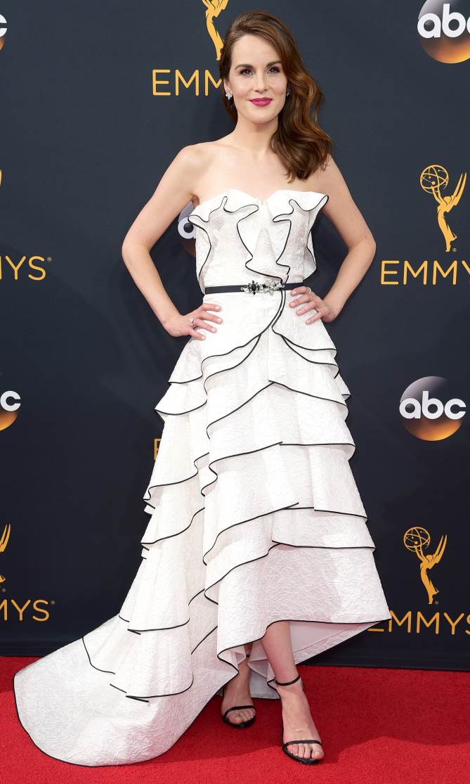 Michelle Dockery arrives at the 68th Primetime Emmy Awards on Sunday, Sept. 18, 2016, at the Microsoft Theater in Los Angeles. (Photo by Richard Shotwell/Invision/AP)