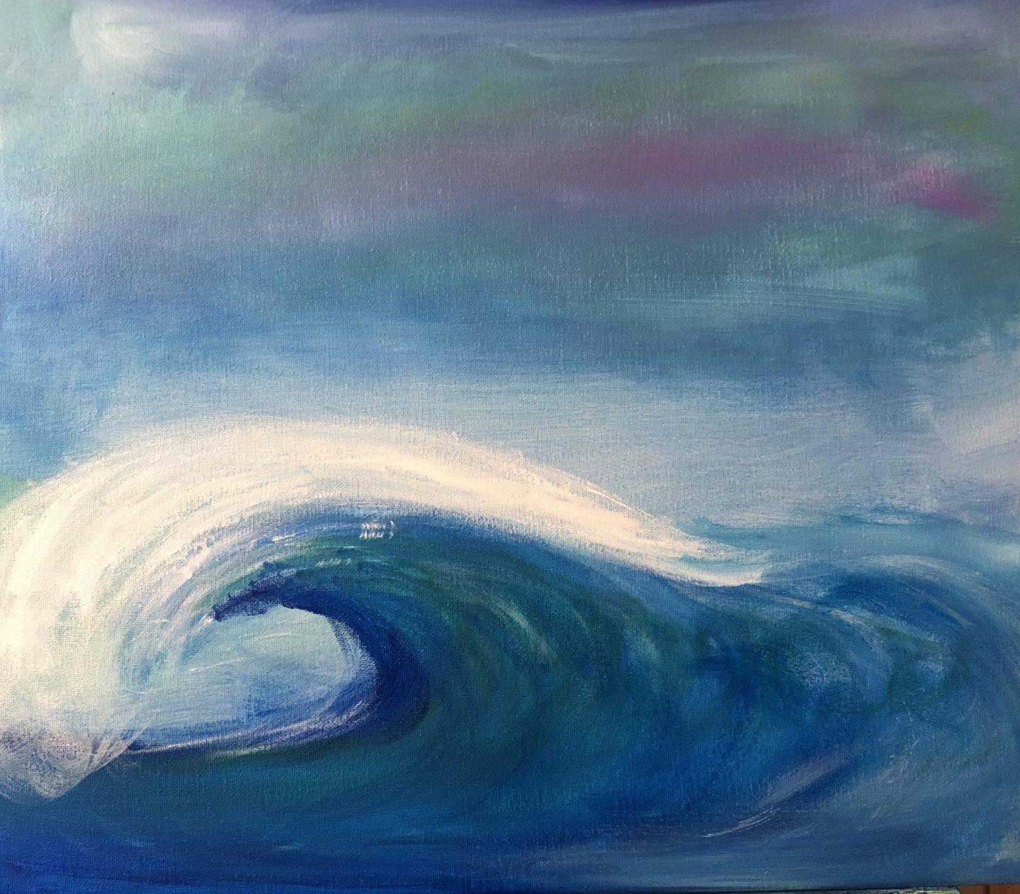 "Crashing Waves - Acrylic on Canvas, 16""x 20"""