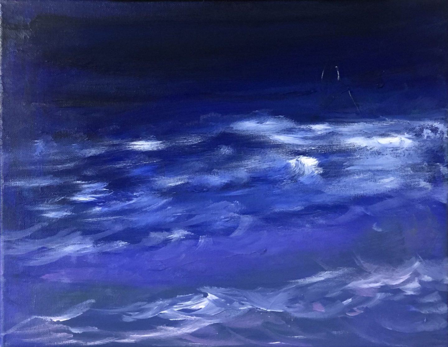 "Midnight Waves - Acrylic on canvas, 11""x14"""