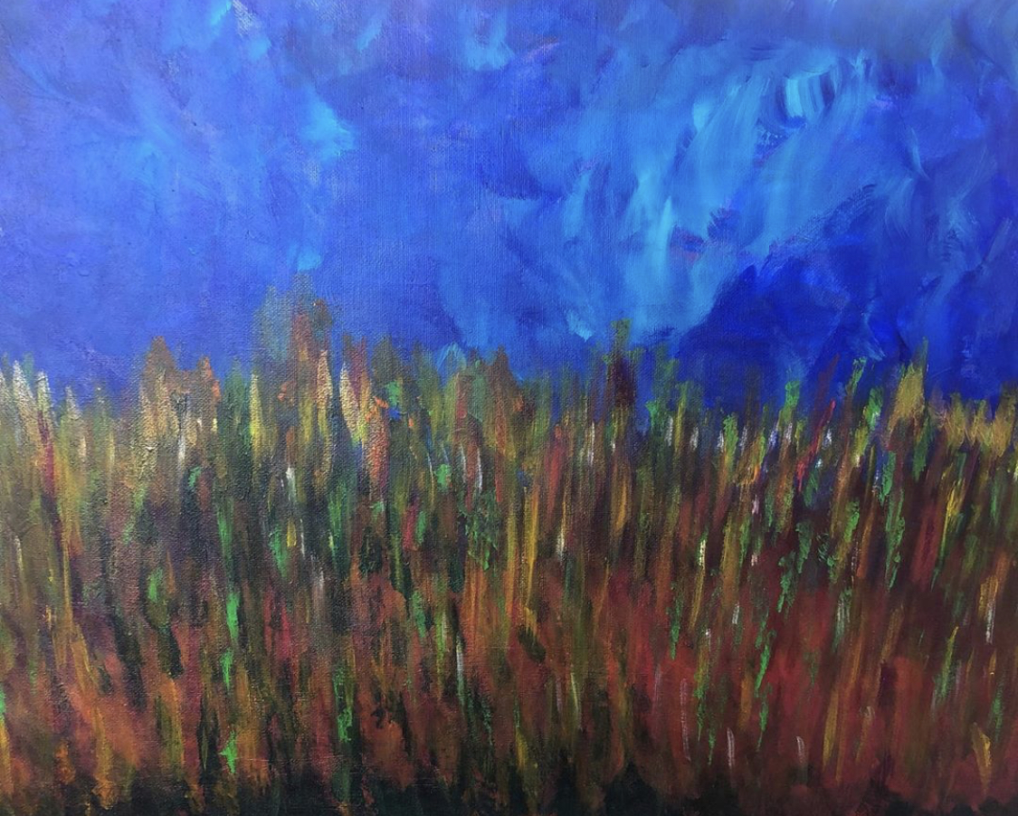"Fields at Night - acrylic on canvas, 16""x 20"""
